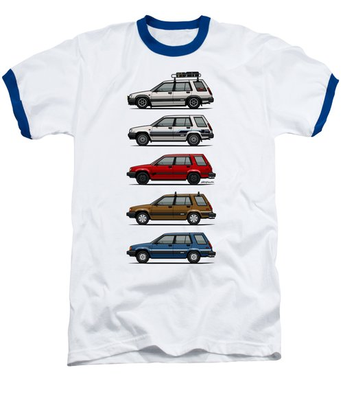 Stack Of Toyota Tercel Sr5 4wd Al25 Wagons Baseball T-Shirt by Monkey Crisis On Mars
