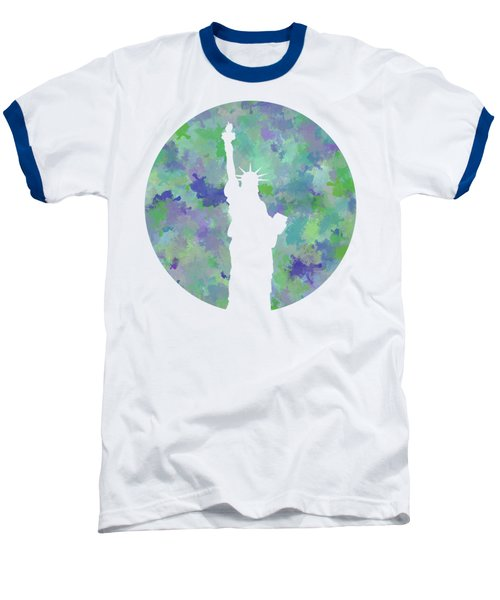 Statue Of Liberty Silhouette Baseball T-Shirt by Phil Perkins