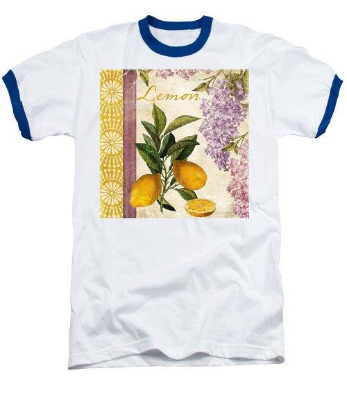 Summer Citrus Lemon Baseball T-Shirt by Mindy Sommers