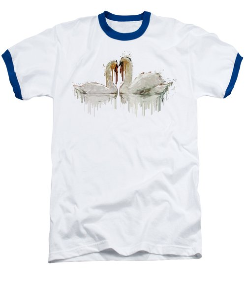Swan Love Acrylic Painting Baseball T-Shirt by Georgeta Blanaru