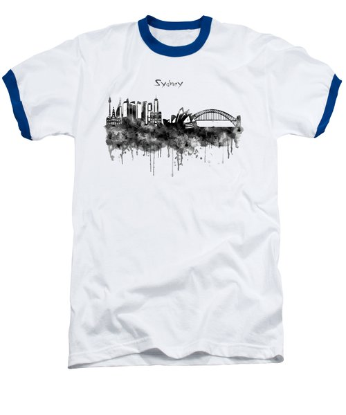 Sydney Black And White Watercolor Skyline Baseball T-Shirt by Marian Voicu