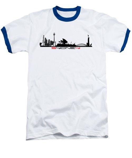 Sydney Skyline Black Baseball T-Shirt by Justyna JBJart