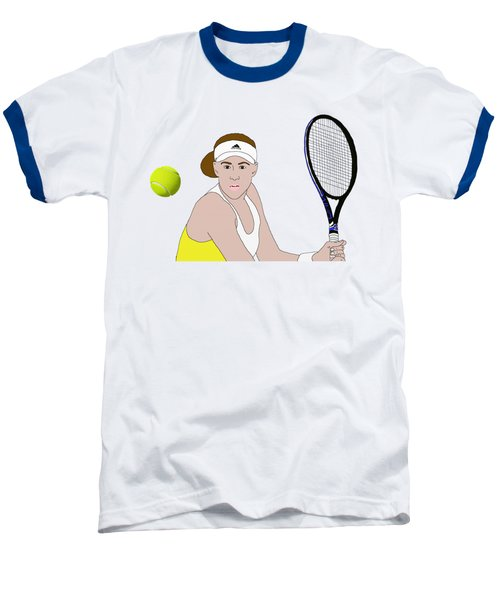 Tennis Ball Focus Baseball T-Shirt by Priscilla Wolfe