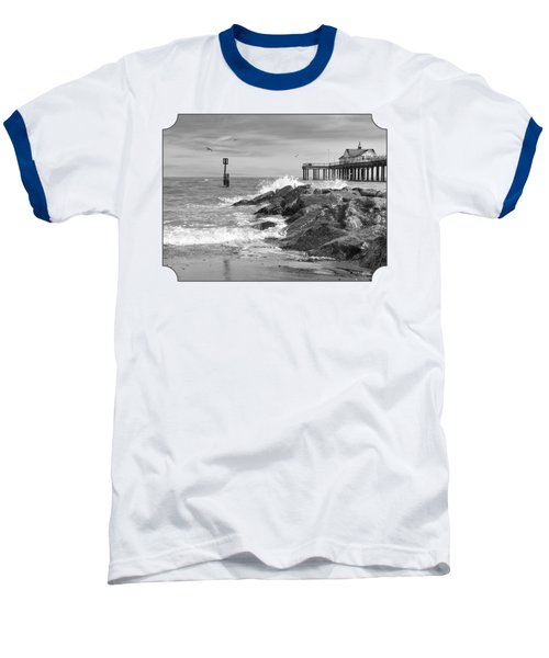 Tide's Turning - Black And White - Southwold Pier Baseball T-Shirt by Gill Billington