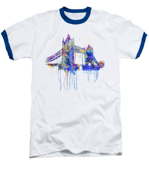 Tower Bridge Watercolor Baseball T-Shirt by Marian Voicu