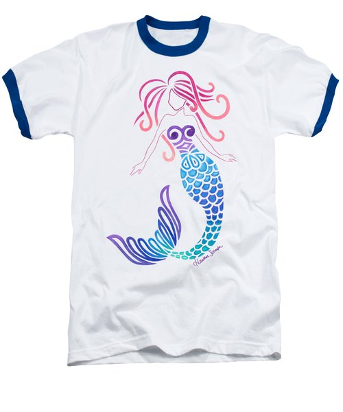 Tribal Mermaid Baseball T-Shirt by Heather Schaefer