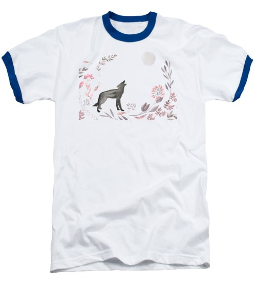Twilight Wolf Baseball T-Shirt by Amanda Lakey