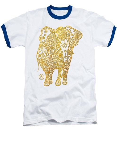Unique Golden Elephant Art Drawing By Megan Duncanson Baseball T-Shirt by Megan Duncanson