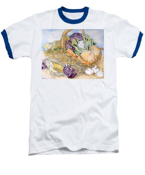 Vegetables In A Basket Baseball T-Shirt by Joan Thewsey