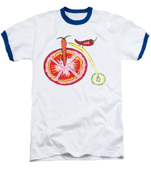 Veggie Bike Baseball T-Shirt by Kathleen Sartoris
