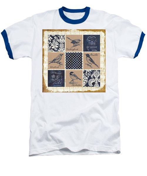 Vintage Songbird Patch 2 Baseball T-Shirt by Debbie DeWitt