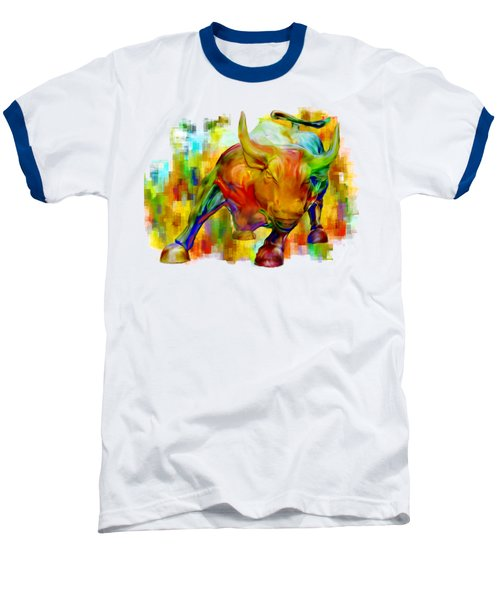 Wall Street Bull Baseball T-Shirt by Jack Zulli