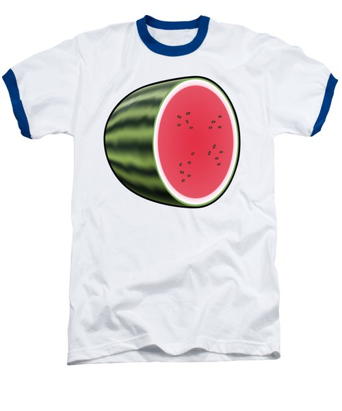 Water Melon Outlined Baseball T-Shirt by Miroslav Nemecek