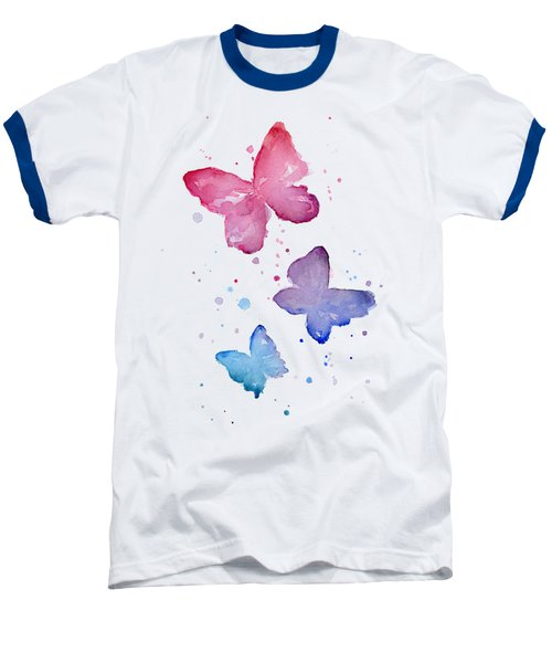 Watercolor Butterflies Baseball T-Shirt by Olga Shvartsur