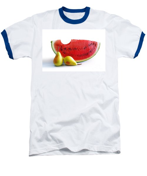 Watermelon And Pears Baseball T-Shirt by Carlos Caetano