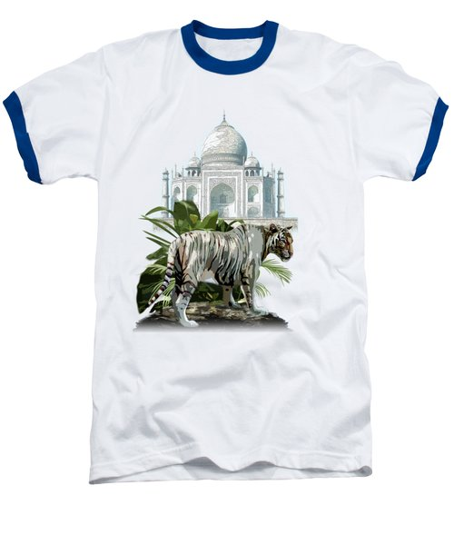 White Tiger And The Taj Mahal Image Of Beauty Baseball T-Shirt by Regina Femrite