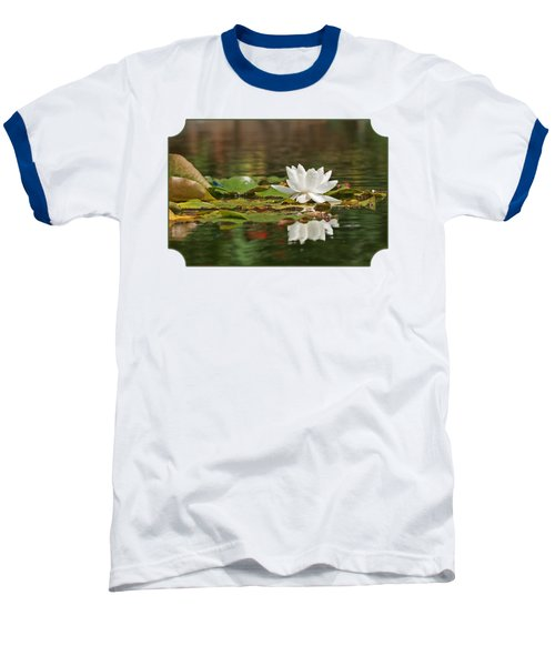 White Water Lily With Damselflies Baseball T-Shirt by Gill Billington