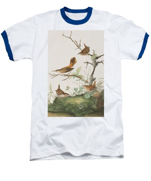 Winter Wren Or Rock Wren Baseball T-Shirt by John James Audubon
