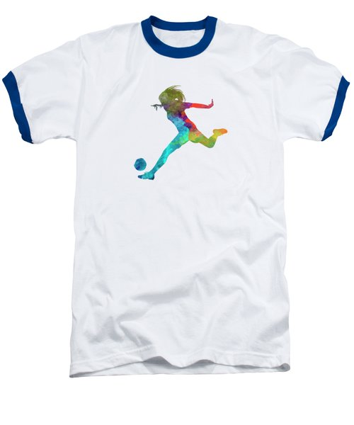 Woman Soccer Player 01 In Watercolor Baseball T-Shirt by Pablo Romero