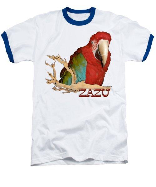 Zazu With Branch Baseball T-Shirt by Zazu's House Parrot Sanctuary