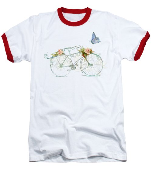Summer At Cape May - Bicycle Baseball T-Shirt by Audrey Jeanne Roberts