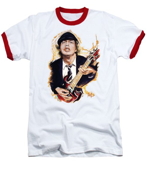 Angus Young Baseball T-Shirt by Melanie D
