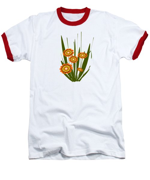 Orange Flowers Baseball T-Shirt by Anastasiya Malakhova
