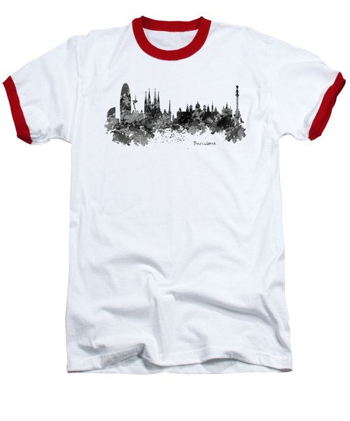 Barcelona Black And White Watercolor Skyline Baseball T-Shirt by Marian Voicu