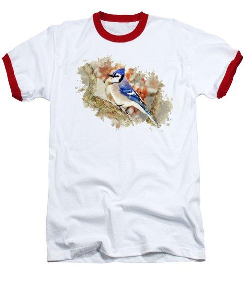 Beautiful Blue Jay - Watercolor Art Baseball T-Shirt by Christina Rollo