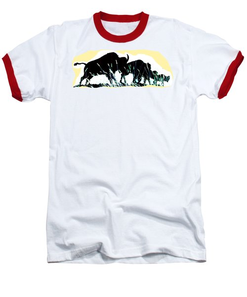 Bison Prairie Run Baseball T-Shirt by Aliceann Carlton
