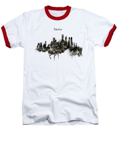 Boston Skyline Black And White Baseball T-Shirt by Marian Voicu
