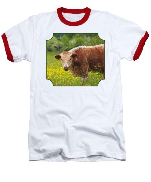 Buttercup - Brown Cow Baseball T-Shirt by Gill Billington