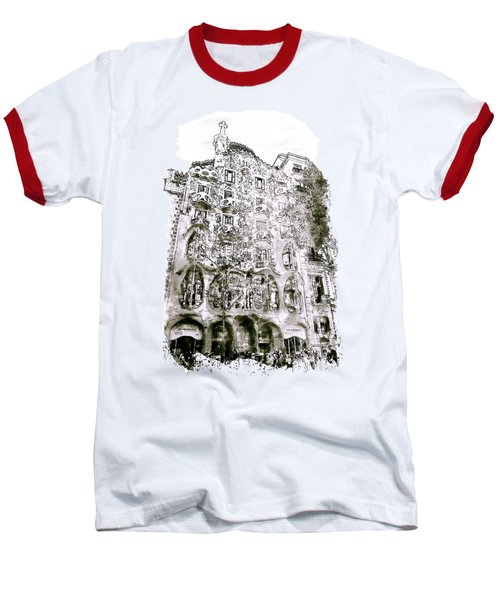 Casa Batllo Barcelona Black And White Baseball T-Shirt by Marian Voicu