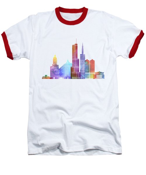 Chicago Landmarks Watercolor Poster Baseball T-Shirt by Pablo Romero