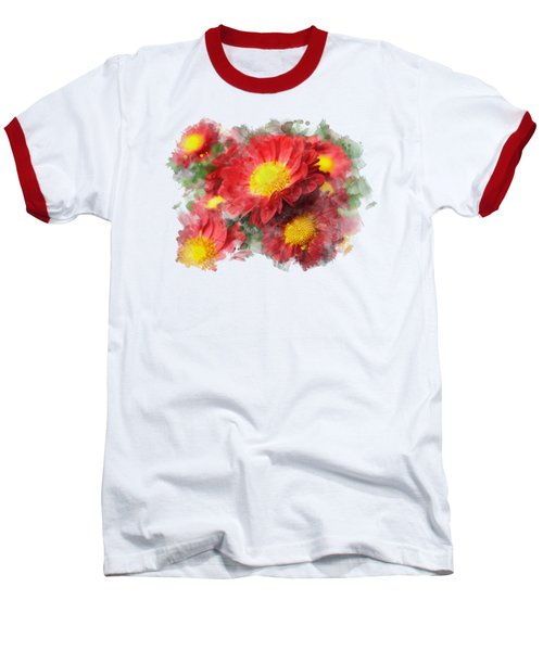 Chrysanthemum Watercolor Art Baseball T-Shirt by Christina Rollo