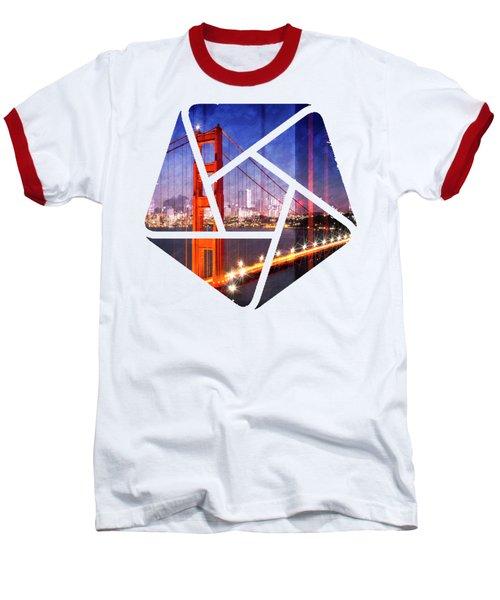 City Art Golden Gate Bridge Composing Baseball T-Shirt by Melanie Viola
