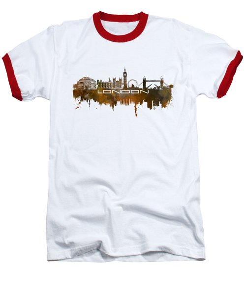 London Skyline City Brown Baseball T-Shirt by Justyna JBJart