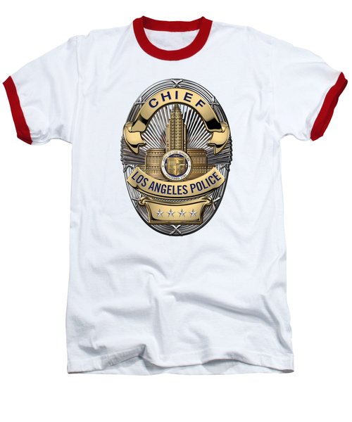 Los Angeles Police Department  -  L A P D  Chief Badge Over White Leather Baseball T-Shirt by Serge Averbukh