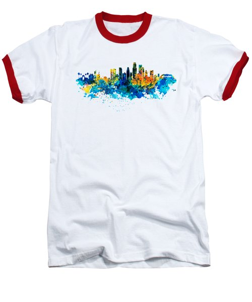 Los Angeles Skyline Baseball T-Shirt by Marian Voicu
