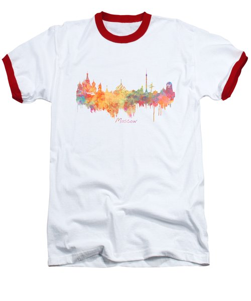 Moscow Russia Skyline City Baseball T-Shirt by Justyna JBJart