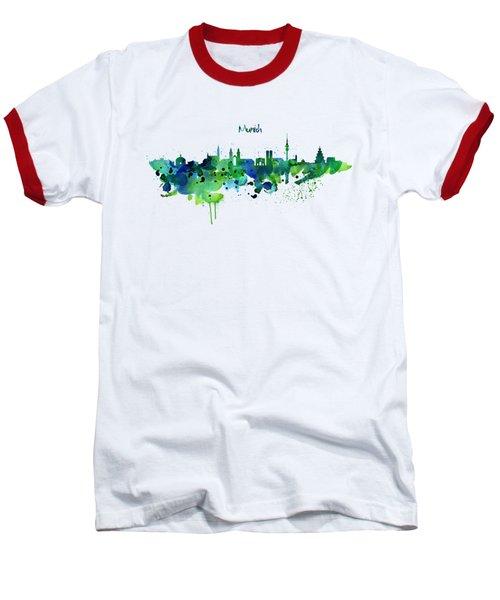 Munich Skyline Silhouette Baseball T-Shirt by Marian Voicu