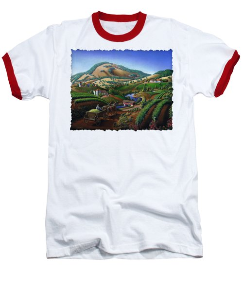 Old Wine Country Landscape - Delivering Grapes To Winery - Vintage Americana Baseball T-Shirt by Walt Curlee