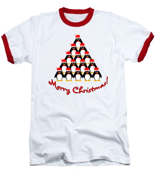 Penguin Christmas Tree Baseball T-Shirt by Methune Hively