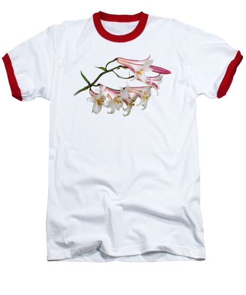 Radiant Lilies Baseball T-Shirt by Gill Billington