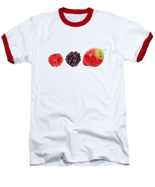 Raspberry, Blackberry And Strawberry In Watercolor Baseball T-Shirt by Kathleen Skinner