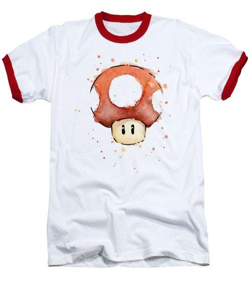 Red Mushroom Watercolor Baseball T-Shirt by Olga Shvartsur
