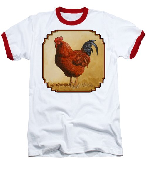 Rhode Island Red Rooster Baseball T-Shirt by Crista Forest