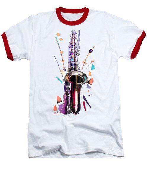 Saxophone Baseball T-Shirt by Melanie D