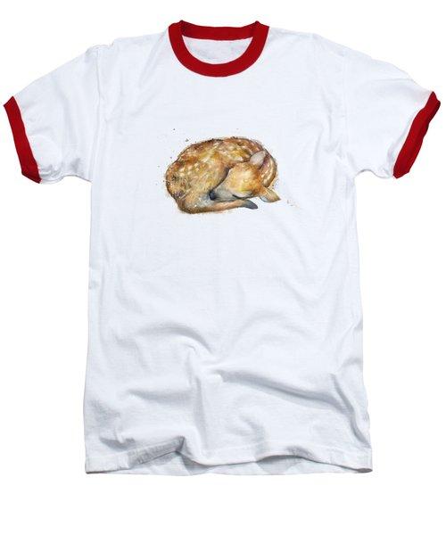 Sleeping Fawn Baseball T-Shirt by Amy Hamilton