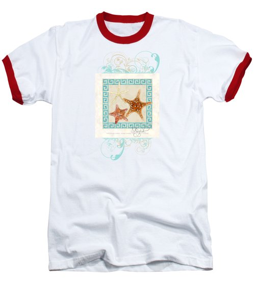 Starfish Greek Key Pattern W Swirls Baseball T-Shirt by Audrey Jeanne Roberts